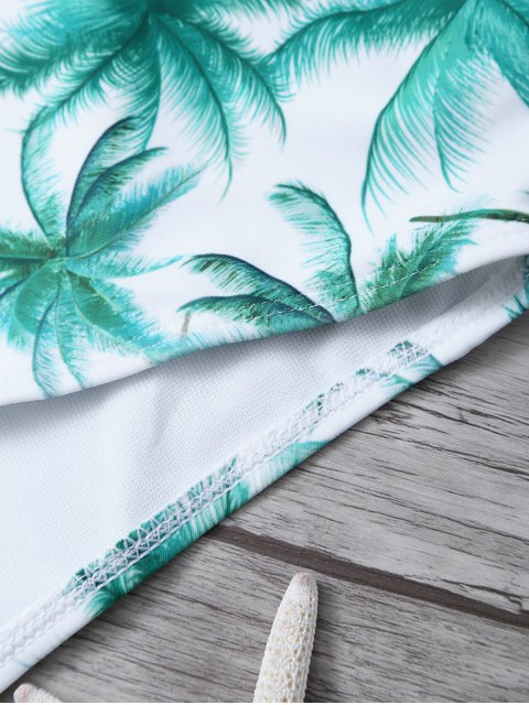 shops Palm Tree Print One Piece Swimsuit - WHITE AND GREEN XL Mobile