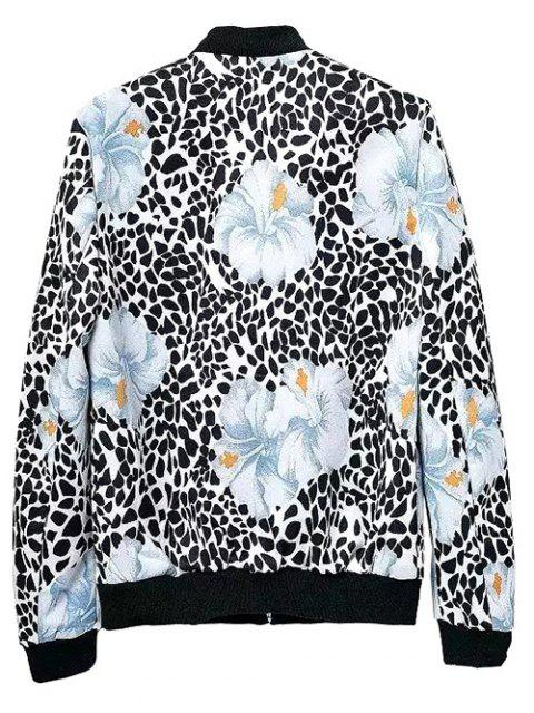 outfit Flower Patterned Bomber Jacket - COLORMIX S Mobile