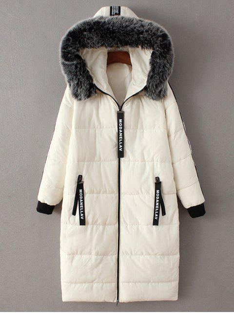 latest Hooded Number Patch Quilted Coat - WHITE L Mobile