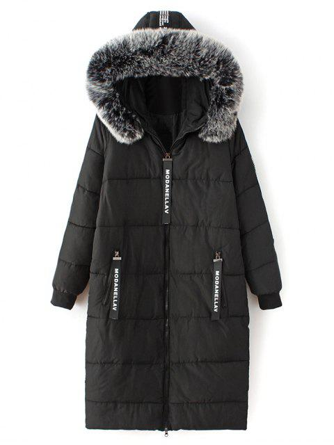 unique Hooded Number Patch Quilted Coat - BLACK S Mobile