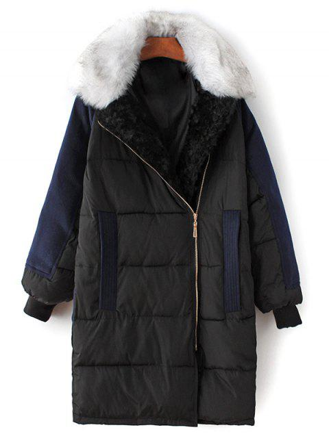 sale Wool Panel Fur Collar Quilted Coat - BLACK L Mobile