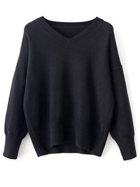 ladies V Neck Long Sleeve Pullover Knitwear - BLACK ONE SIZE Mobile