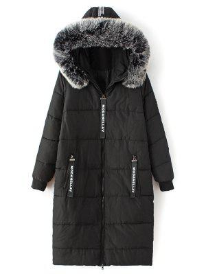 Hooded Number Patch Quilted Coat - Black L
