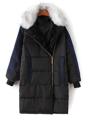 Wool Panel Fur Collar Quilted Coat - Black S