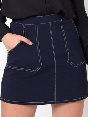 Denim A-Line Skirt - Purplish Blue M