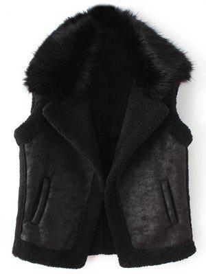 Detachable Fur Collar Suede Waistcost - Black L