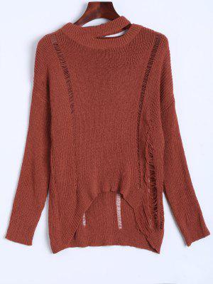 Oversized Distressed Sweater - Jacinth