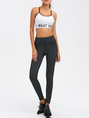 Graphic Bra And Bodycon Yoga Leggings - White S