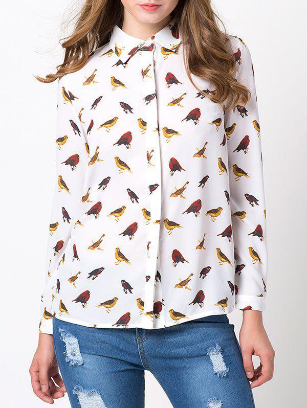 Bird Print Chiffon Animal Print Shirt 201917003