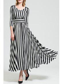 Robe Rayée Maxi A Line Avec Manches - Blanc Et Noir M
