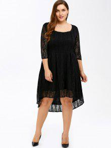 Plus Size Midi High Low A Line Lace Dress With Sleeves BLACK: Plus ...