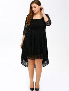 32% OFF] 2019 Plus Size Midi High Low A Line Lace Dress With Sleeves ...