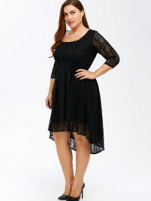 plus size midi high low a line lace dress with sleeves black: plus
