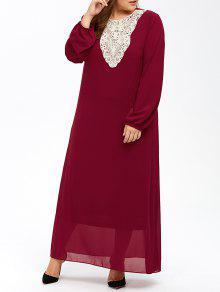 Vestido Largo De Manga Larga Para Mujer - Vino Rojo 2xl
