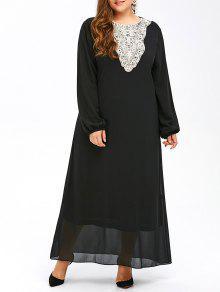 فستان مسلم ماكسي شيفون - أسود 6xl