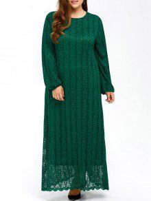 Musulmanes De Encaje Más Tamaño Maxi Vestido De Manga Larga - Verde L