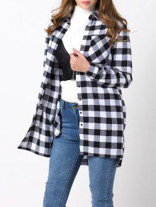 Checked High-Low Shirt - White And Black Xl