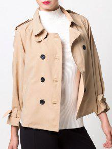 Double-Breasted Duster Jacket - Khaki L