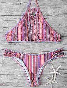 De Cuello Alto A Rayas De Split Bikini - Multicolor S