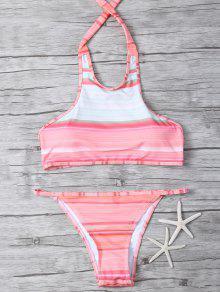 High Neck Gradient Color Bikini - Multicolor Xl