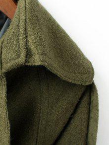 6ac10cb5d27 63% OFF] 2019 Abrigo De Lana Blend Lapel Collar Abrigo En Verde ...