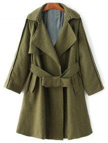 Wool Blend Lapel Collar Wrap Coat - Green L