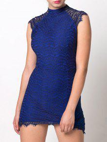 Asymmetric Lace Mini Dress - Blue M