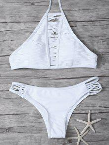 Sheer Stripe High Neck Bikini Set - White S
