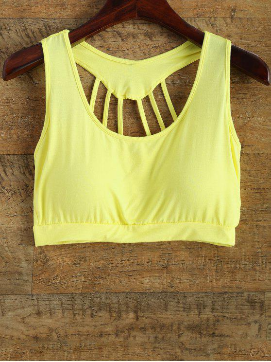 hot Padded Back Strappy Yoga Top - YELLOW ONE SIZE