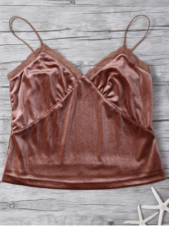 outfits Lace Trim Velvet Camisole Top - COFFEE M