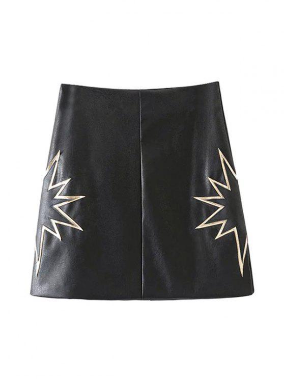 women PU Printed A-Line Skirt - BLACK S