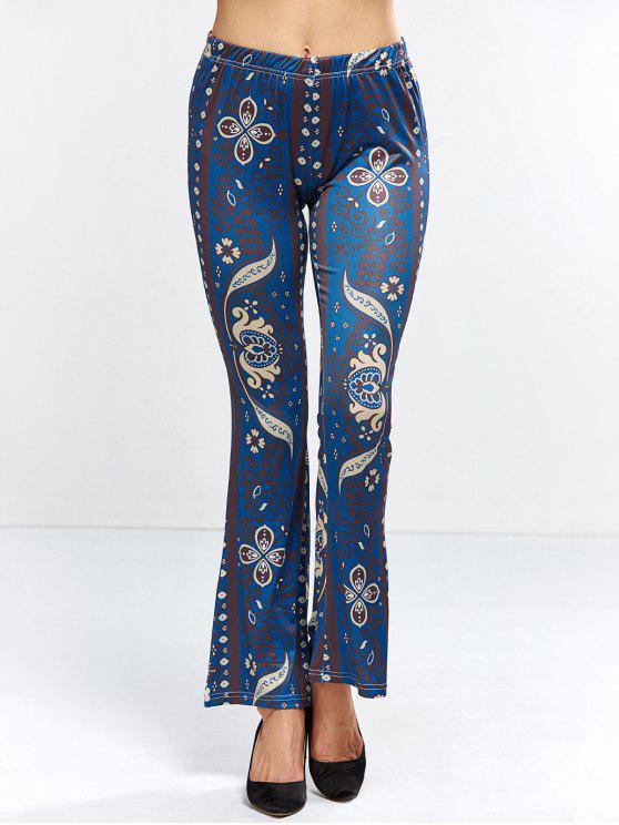 new Floral Bell Bottom Pants - PURPLISH BLUE M