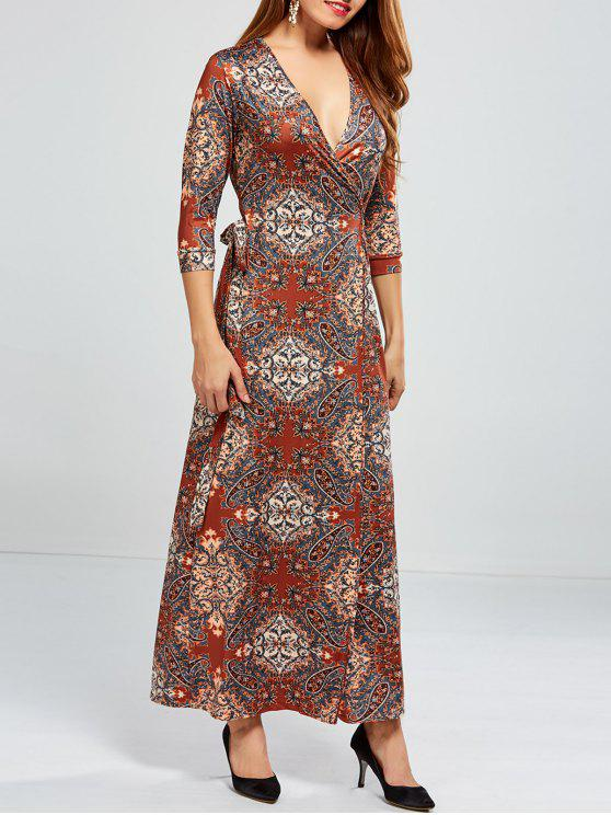 unique Low Cut Print Maxi Wrap Dress - COLORMIX L