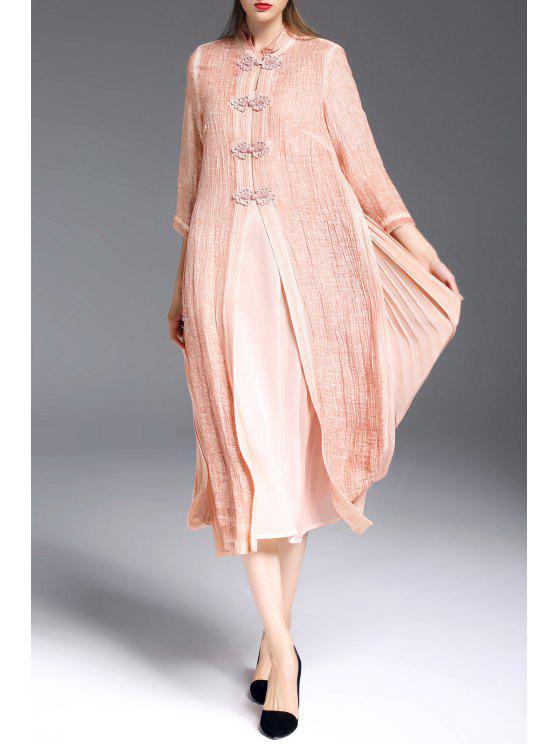 De Robe Avec DressOrange Des Camisole Rose Xl Plissés Mandarin Collier q5R4Ajc3L