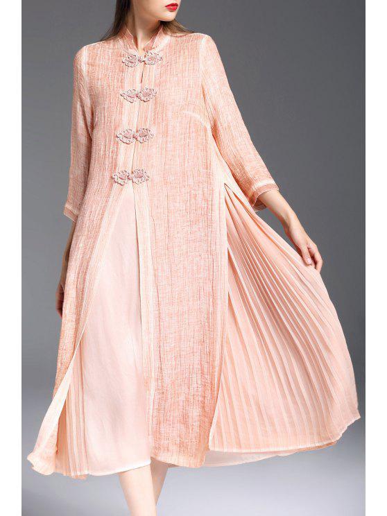 buy Mandarin Collar Dress with Pleated Camisole Dress - ORANGEPINK XL