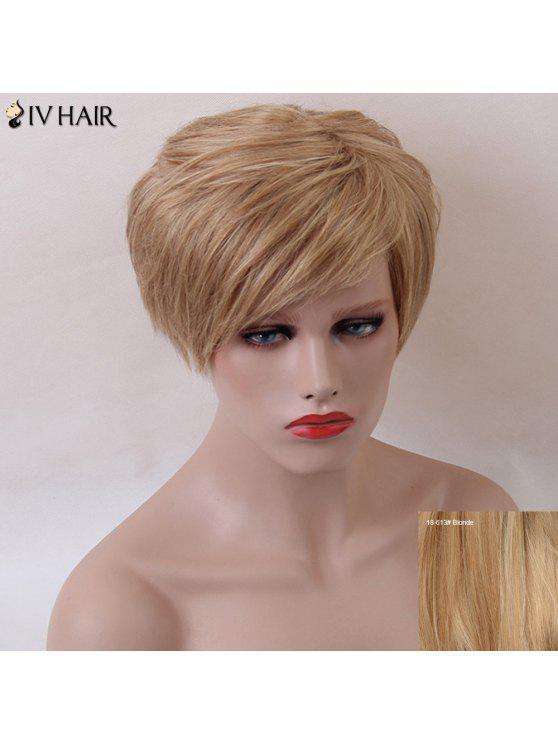 Breve lanudo explosión lateral recto natural Siv humano peluca de pelo - Rubio