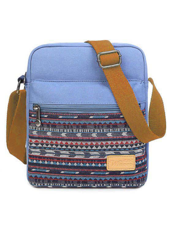 زيب حقيبة قماش كروسبودي - أزرق سماوي