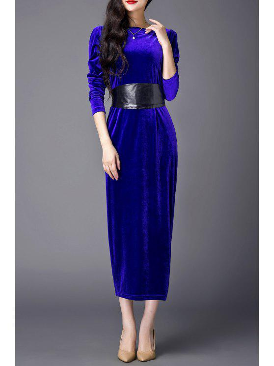 16feb920d670 31% OFF  2019 Slash Neck Slit Midi Evening Dress In BLUE