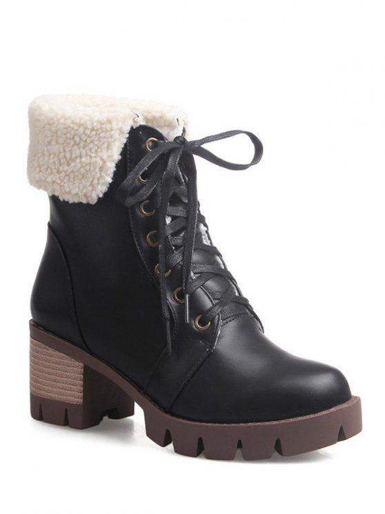 fancy Lace Up Platform Round Toe Ankle Boots - BLACK 39