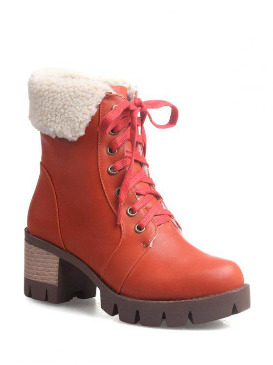 womens Lace Up Platform Round Toe Ankle Boots - ORANGEPINK 38