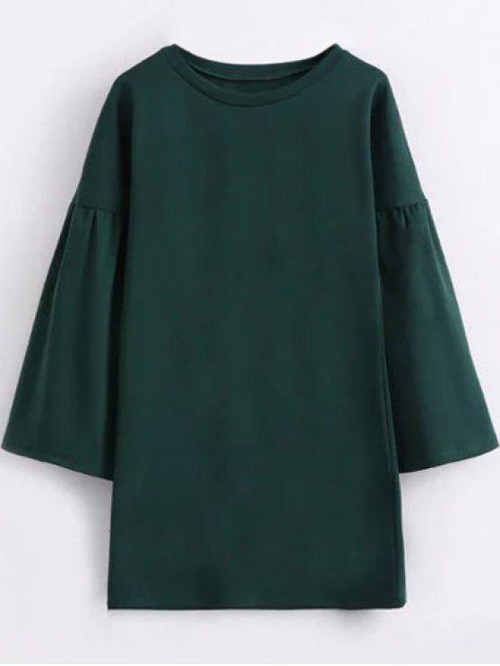 Vestido Recto con Cuello Redondo - Verde M