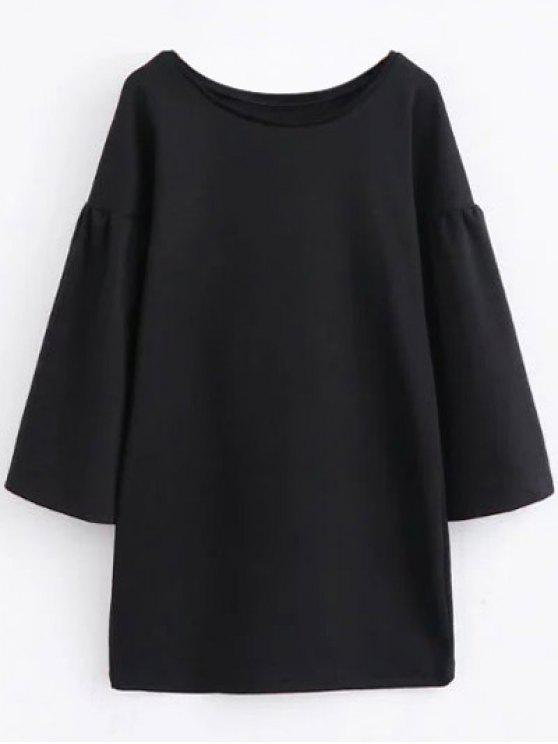 ladies Round Collar Shift Dress - BLACK M