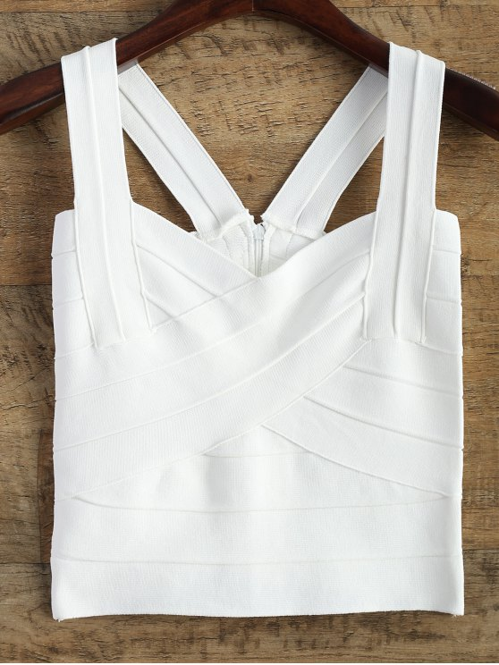 lady Back Zipper Tank Top - WHITE ONE SIZE