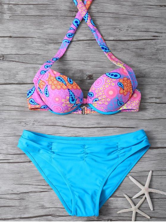 Halter Bikini Conjunto étnico de Estilo - Azul L