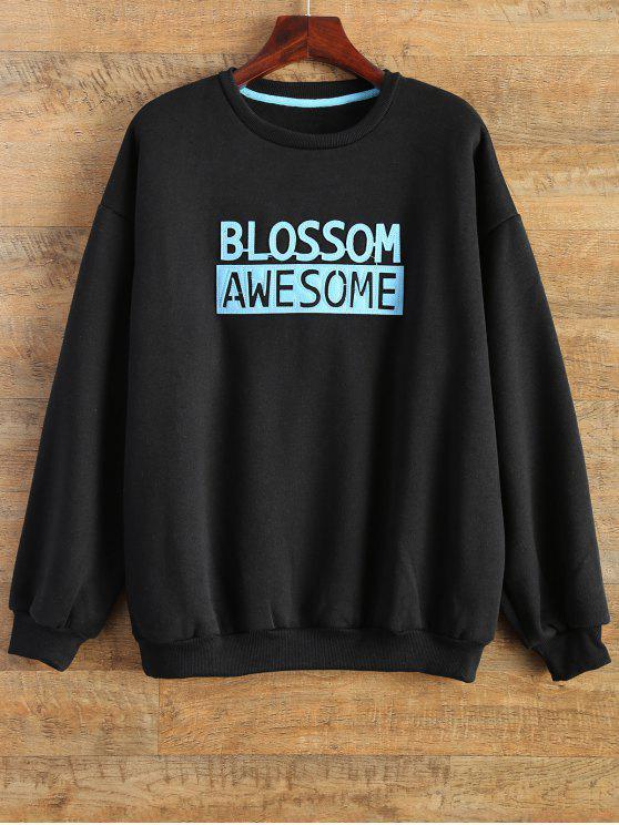 bac112dd9ef5 31% OFF  2019 Blossom Awesome Patch Crew Neck Sweatshirt In BLACK ...