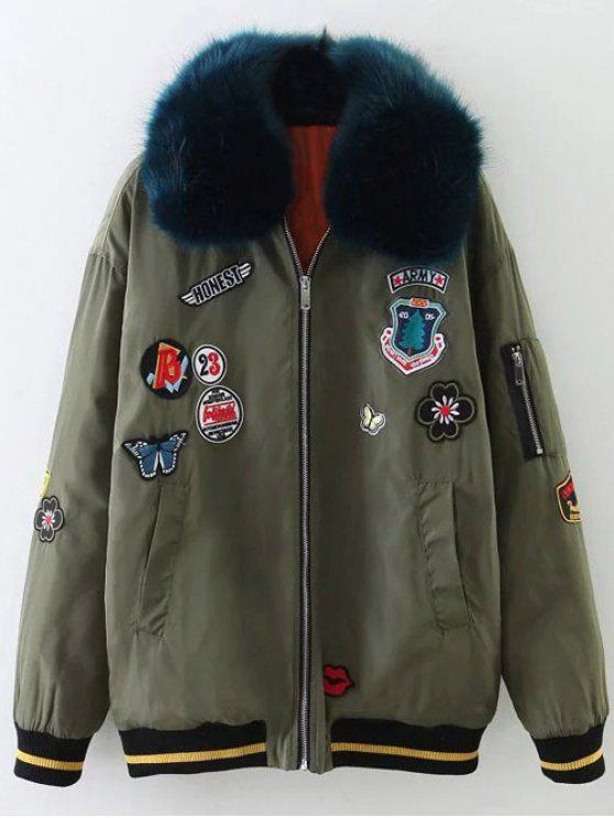 Cuello de la piel divertido Patch chaqueta acolchada - Verde del ejército S