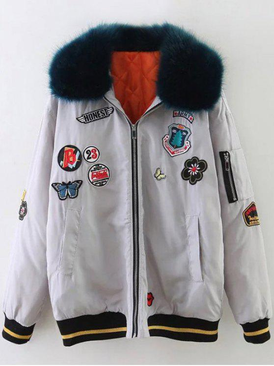 unique Furry Collar Patch Padded Bomber Jacket - SILVER XS