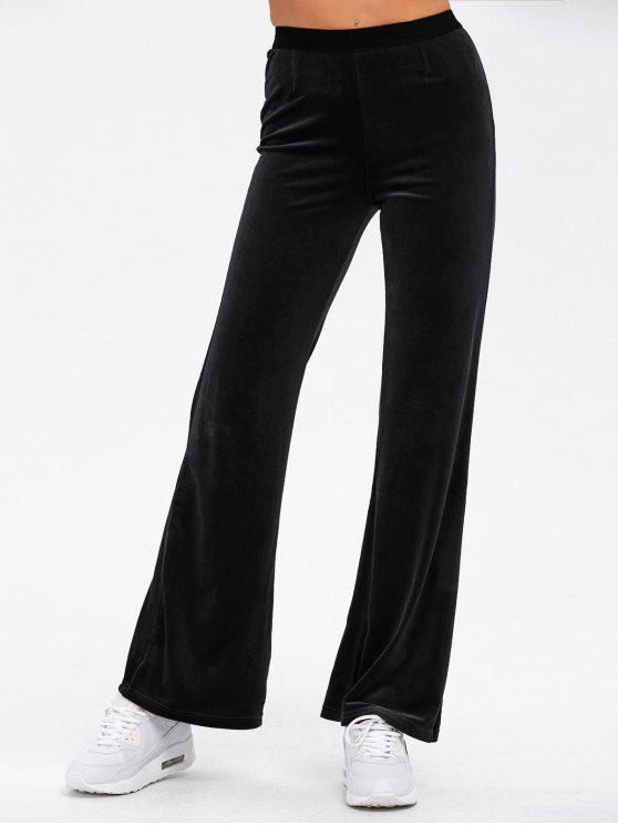 chic Velvet Boot Cut Pants - BLACK ONE SIZE