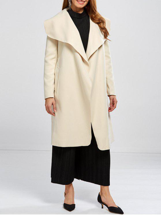 fashion Shawl Collar Belted Wrap Coat - OFF-WHITE L
