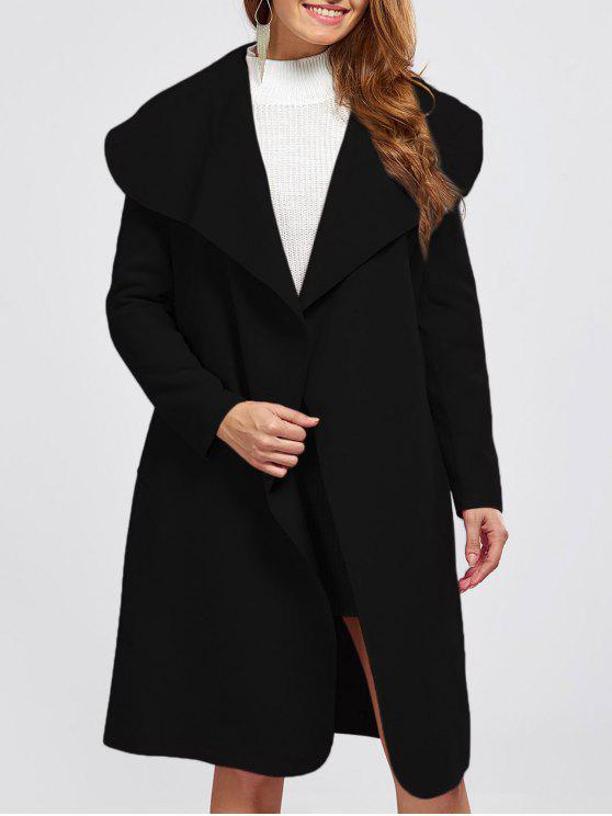 womens Shawl Collar Belted Wrap Coat - BLACK M